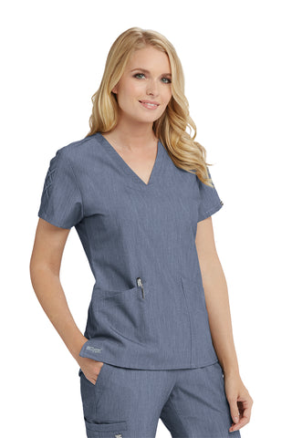 Grey's Anatomy Signature Laced Sleeve V-Neck Scrub Top - Company Store Uniforms