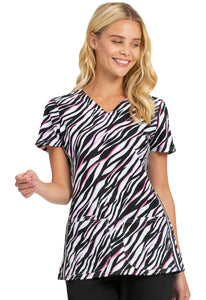 HeartSoul V-Neck Print Top in Pop To It Zebra
