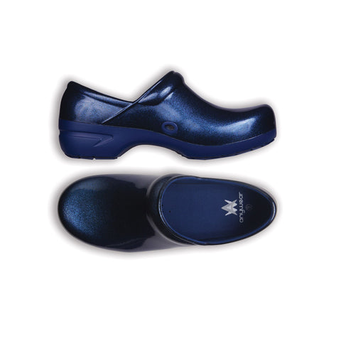 Anywear Navy Pearlized Giltter Closed Back Plastic Clog