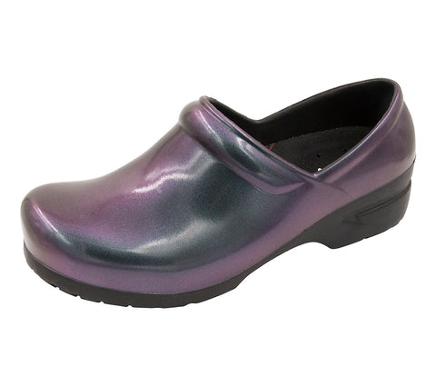 Anywear Irisdescent Purple Closed Back Plastic Clog