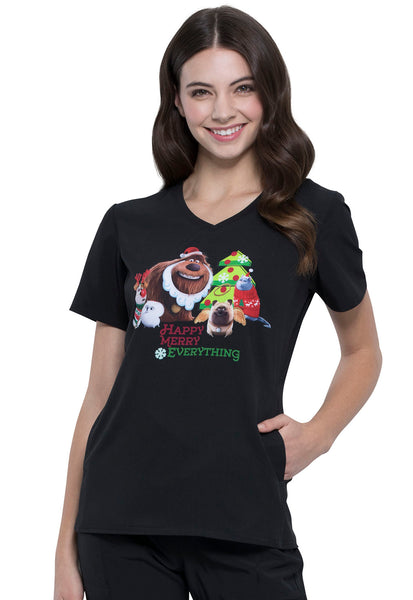 Tooniforms Holly Jolly Pets Print Top - Company Store Uniforms