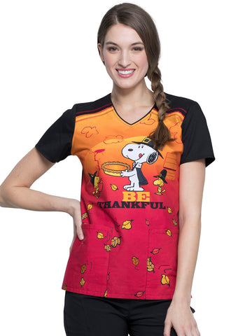 Cherokee Snoopy Thanksgiving Print Top - Company Store Uniforms