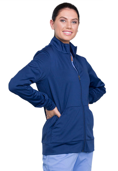 Cherokee Workwear Revolution Zip Front Warm-up Jacket in Black & Navy - Company Store Uniforms