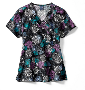 Zoe + Chloe Autumn Floral Medallion Print Top - Company Store Uniforms