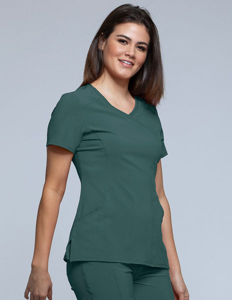 Infinity Solid Mock Wrap Scrub Top