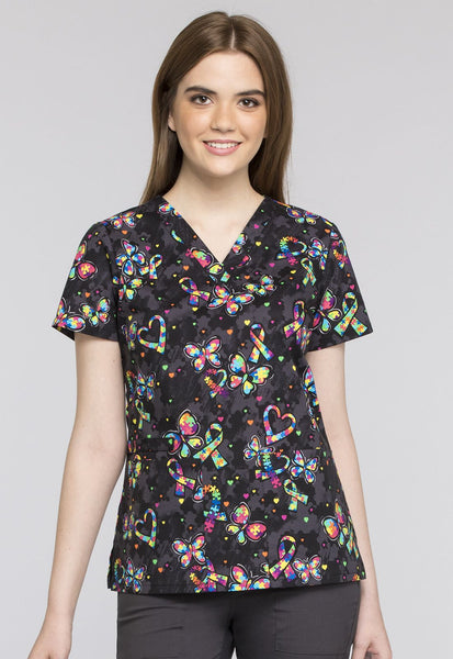 Cherokee One Piece At A Time Print Top - Company Store Uniforms