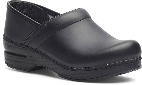 Dansko Women's Wide Pro Clogs in Black Box Leather - Company Store Uniforms