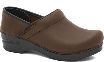 Dansko Women's Narrow Pro Clogs in Antique Brown Oiled Leather - Company Store Uniforms