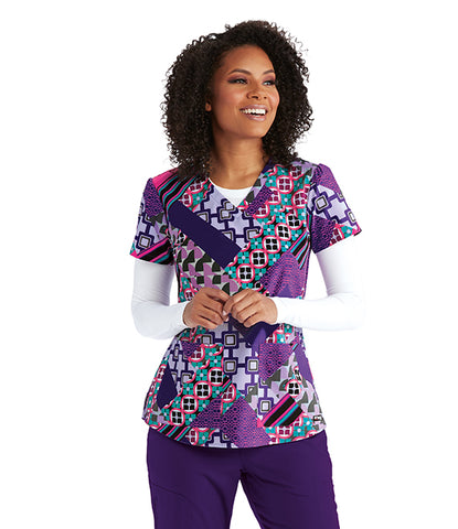Grey's Anatomy Retro Geo Print Top - Company Store Uniforms