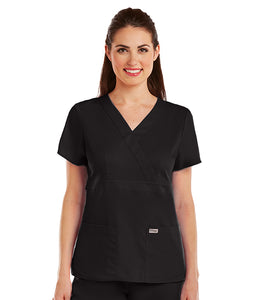 Greys Anatomy 3 Pocket Mock Wrap Scrub Top