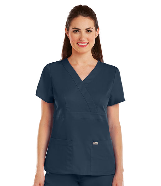 Greys Anatomy 3 Pocket Mock Wrap Top