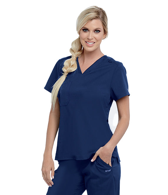 New! Greys Anatomy 1 Pocket Jersey Knit Top - Company Store Uniforms