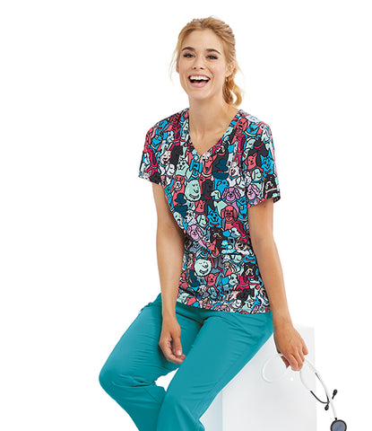 New! Skechers Best Friends Print Top - Company Store Uniforms