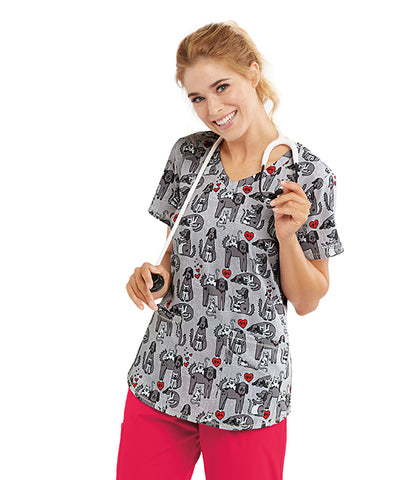 New! Skechers Cats and Dogs Print Top - Company Store Uniforms