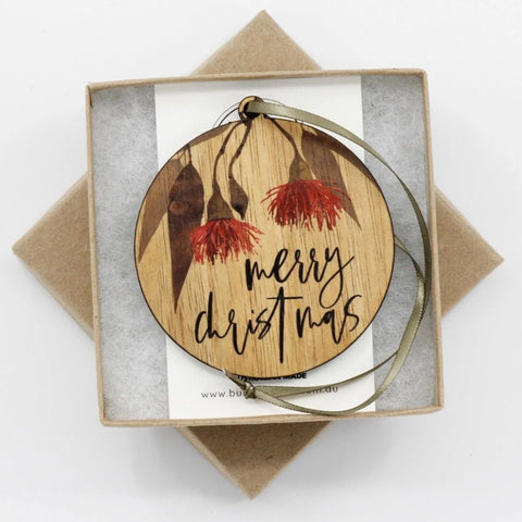 Buttonworks Christmas Bauble Merry Christmas Flowering Gum
