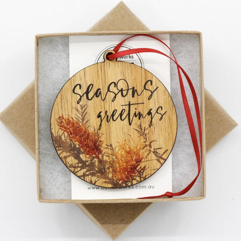 Buttonworks Christmas Bauble Seasons Greetings Grevillea