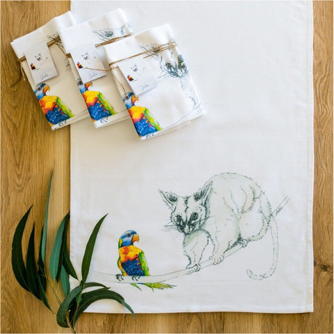 Jules Lawson Nature Artist Tea Towel Possum Lorikeet