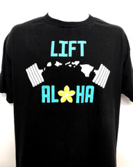 Mens Black Tee w/Lift Aloha