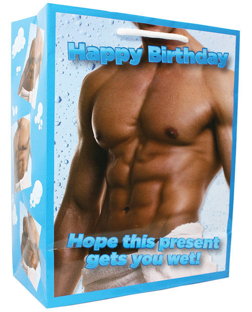 Happy Birthday Man Wearing A Towel....hope This Present Gets You Wet Gift Bag