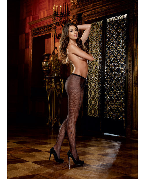 Fishnet Pantyhose W-back Seam Black O-s