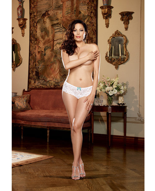 Stretch Lace Open Crotch Short White 1x-2x
