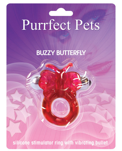 Purrfect Pet Buzzy Butterfly Stimulating Pleasure Ring - Magenta