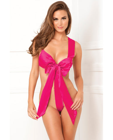 Rene Rofe Unwrap Me One Piece Satin Bow Teddy Hot Pink S-m