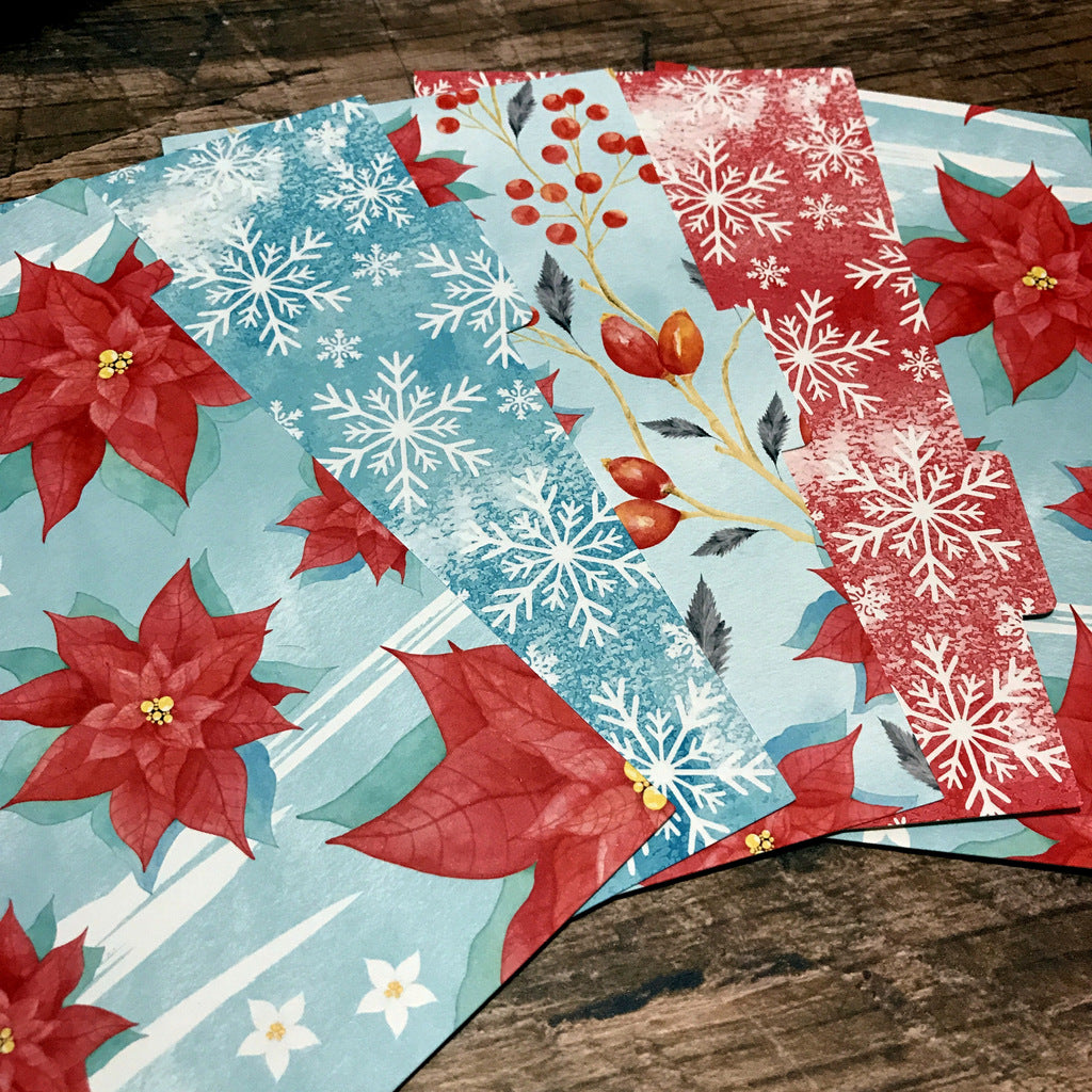 Frosty Poinsettia Set of 5 Planner Dividers-Planner Dividers-My Pretty Week