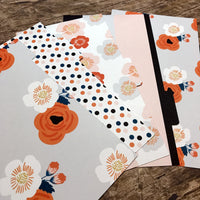 Grey, Coral & Blush Floral Set of 5 Planner Dividers-Planner Dividers-My Pretty Week