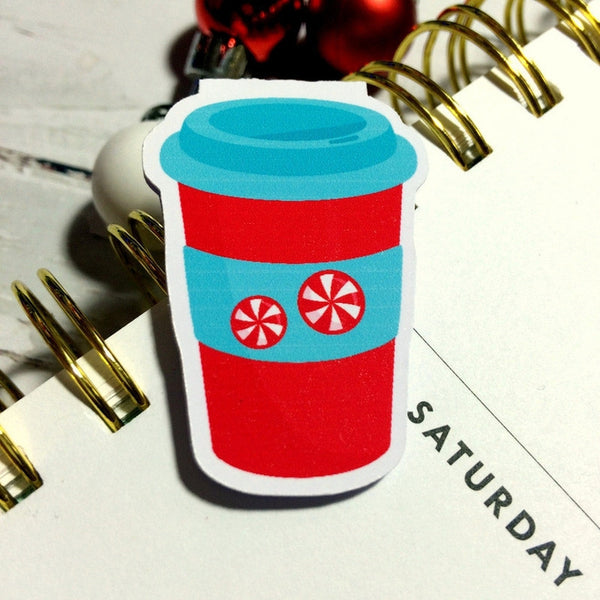 Peppermint Latte To Go Magnetic Bookmark-Christmas Magnetic Bookmark-My Pretty Week