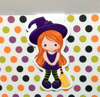 Little Witch with Broomstick Magnetic Bookmark-Magnetic Bookmark-My Pretty Week
