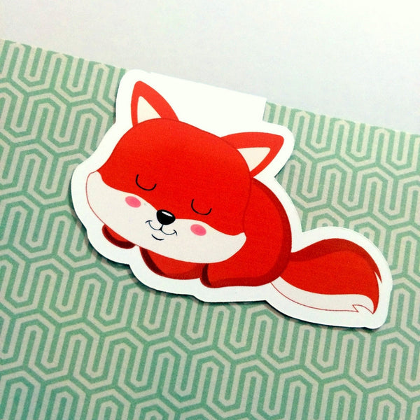 Frolicking Foxes Magnetic Bookmark - Sleeping Fox-Magnetic Bookmarks-My Pretty Week