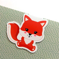 Frolicking Foxes Magnetic Bookmark - Sitting Fox-Magnetic Bookmarks-My Pretty Week