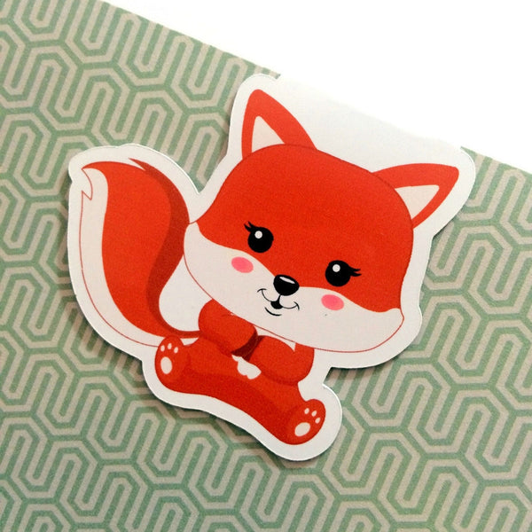 Frolicking Foxes Magnetic Bookmark - Sitting Fox 2-Magnetic Bookmarks-My Pretty Week