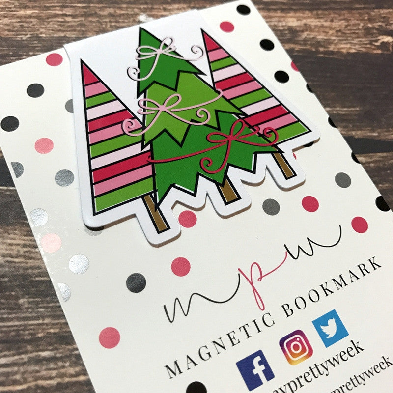 Bright Christmas - Trio of Trees - Magnetic Bookmark - myprettyweek