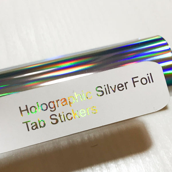 HOLOGRAPHIC SILVER Custom Foil Tab Stickers-Create Your Own-My Pretty Week