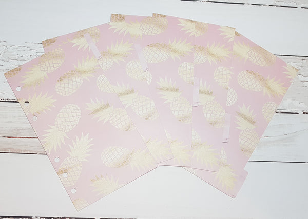 Pink and Gold Pineapples Set of 5 Planner Dividers-Planner Dividers-My Pretty Week