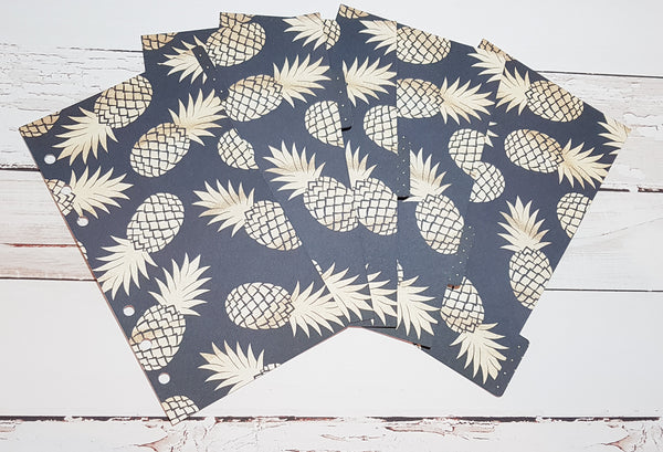 Navy and Gold Pineapples Set of 5 Planner Dividers-Planner Dividers-My Pretty Week