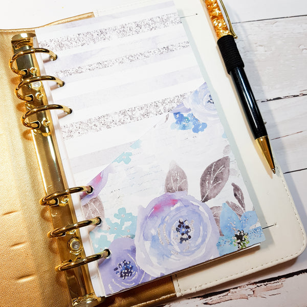 Winter Floral Folder Divider. Divider with Pocket for A5 and Personal Ring Planners, to fit Classic and Mini Size Happy Planners., and EC Life Planner-Folder Divider-My Pretty Week