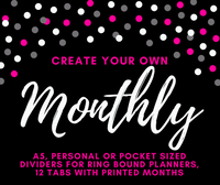 Create your own set of 12 Monthly Tabbed Dividers-12 Tabbed Dividers-My Pretty Week