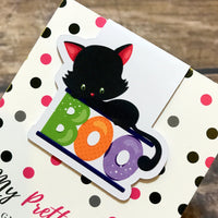 Halloween Magnetic Bookmark - Boo Cat-Magnetic Bookmark-My Pretty Week