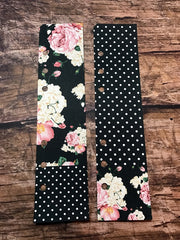 Two Planner Page Markers for A5 or Personal Planners. Duets. Floral Noir