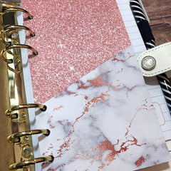 Marble and Rose Gold Planner Folder