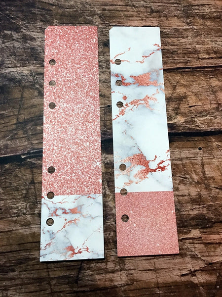 Two Planner Page Markers for A5 or Personal Planners. Duets. Marble and Rose Gold - myprettyweek  - 1