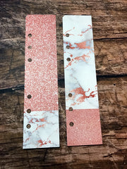 Two Planner Page Markers for A5 or Personal Planners. Duets. Marble and Rose Gold