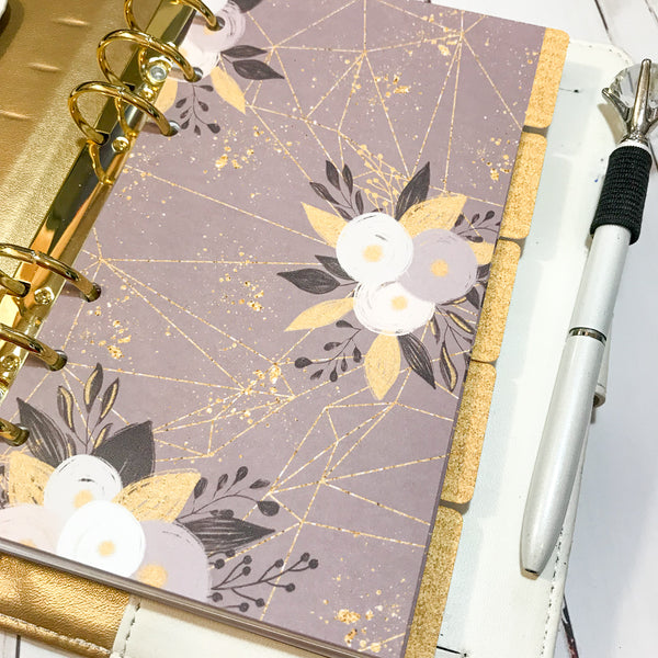 Gold and Grey Set of 5 Planner Dividers-Planner Dividers-My Pretty Week