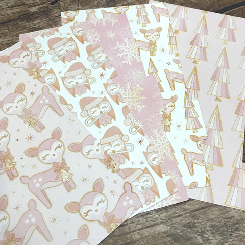 Woodland Winter Pink Set of 5 Planner Dividers-Planner Dividers-My Pretty Week