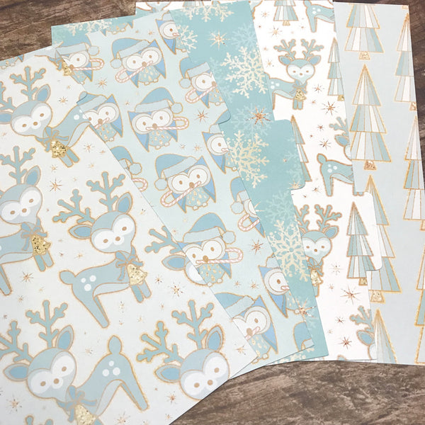 Woodland Winter Blue Set of 5 Planner Dividers-Planner Dividers-My Pretty Week