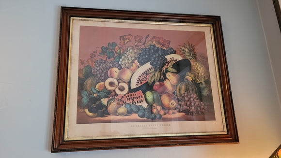 American Fruit Piece Original Lithograph Print by Currier & Ives Circa 1869