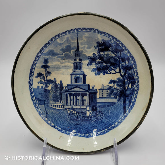 Octagon Church Boston Historical Blue Staffordshire Footed Compote ZAM-184